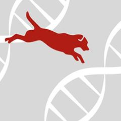Biobank logo with dog and DNA molecule