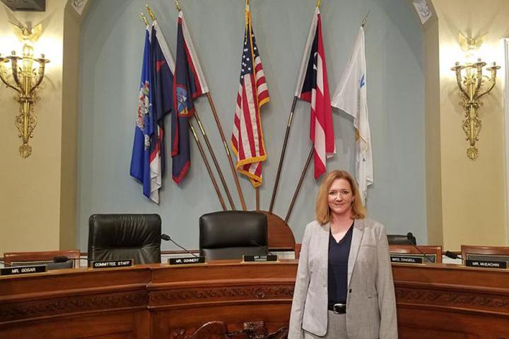 Dr. Kristen Schuler shown providing expert testimony to the U.S. House of Representatives Committee on Natural Resources