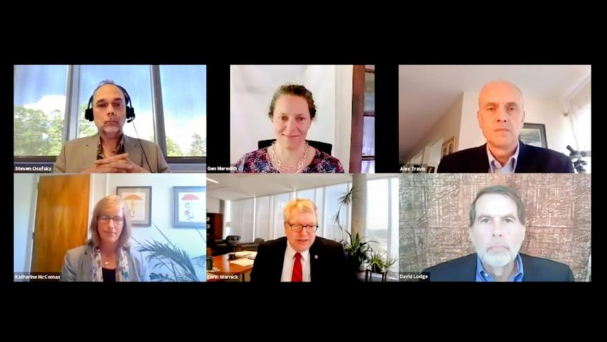 Zoom screenshot of reunion panel; clockwise from top left: Steven Osofsky, Gen Meredith, Alex Travis, David Lodge, Lorin Warnick and Katherine McComas.
